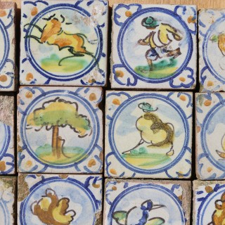 A Set of Antique Hand Decorated Spanish Tiles