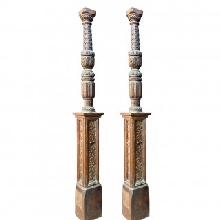 A Pair of Tudor Period Carved Oak Bed Posts