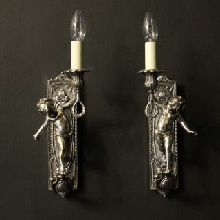 French Pair Of Silver Cherubs Wall Lights