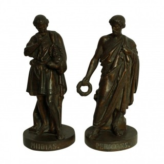 A PAIR OF BRONZES DEPICTING PERICLES & PHIDIAS