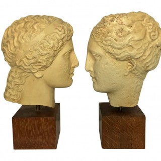 TWO CLASSICAL LIFE SIZE PLASTER HEADS