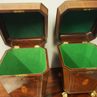 Pair of George III Mahogany and Inlaid Cutlery Boxes