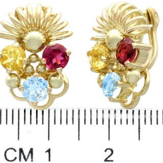0.66 ct Aquamarine, 0.60 ct Garnet and 0.57 ct Citrine, 14ct Yellow Gold Earrings - Vintage Circa 1960