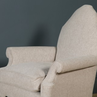 Antique English Pair of Queen Anne Style Grey Upholstered Beech Arm Chairs (Circa 1900)