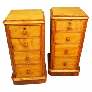 Pair of Victorian Satin Birch Bedsides