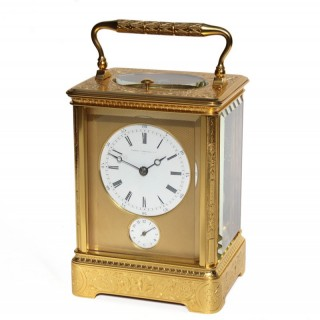 Engraved Giant French Carriage Clock Alarm by Hollinge