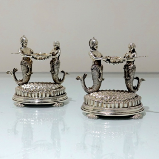 19th Century Antique Victorian Silver Plate Pair Figural Salts Circa 1890 (Unmarked)