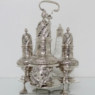 George II Sterling Silver Warwick Cruet London 1744 George Hindmarsh