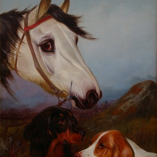 Head of a Grey Pony with two Setters & Head of a Bay Pony with two Setters (A Pair)