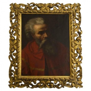 19th Century Italian School Portrait of a Bearded Man in Red