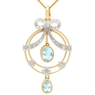 1.01 ct Aquamarine and 0.9 ct Diamond, 9 ct Yellow Gold Pendant - Antique Style - Contemporary 2006