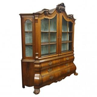 Dutch Victorian Walnut Display Cabinet