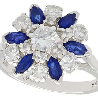 1.10 ct Sapphire and 1.20 ct Diamond, 18 ct White Gold Cluster Ring - Vintage Circa 1960