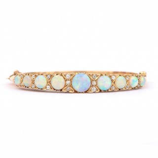 18 Carat Gold Victorian Opal and Diamond Bangle Bracelet