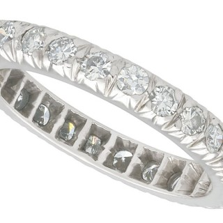 0.84 ct Diamond and 18 ct White Gold Full Eternity Ring - Vintage Circa 1950