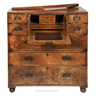 Walnut Secretaire Campaign or Military Chest