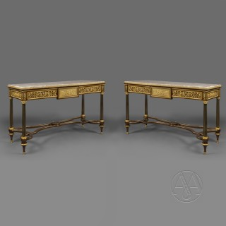 Pair of Louis XVI Style Gilt-Bronze Mounted Mahogany Console Table