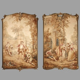 Pair Of Large Aubusson Tapestry Panels Depicting Fêtes Galantes