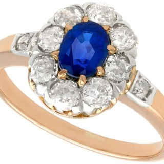 0.83ct Sapphire and 0.88ct Diamond, 14ct Rose Gold Cluster Ring - Antique Circa 1930