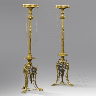 Pair of 'Neo-Grec' Gilt and Patinated Bronze Torchère Stands