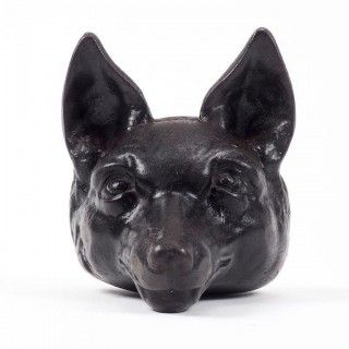 Victorian Cast Iron Fox Head Door Stop