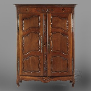 Louis XV Provincial Oak and Parquetry Armoire