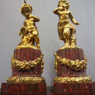 Pair of Gilt Bronze Figures after Clodion