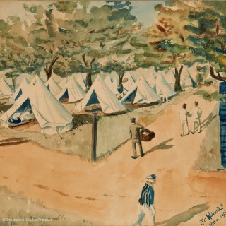 Watercolour  of RMA Woolwich Encampment by Walford