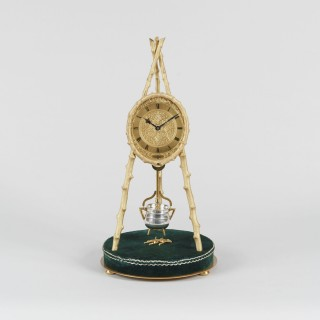 An Extraordinary Rustic Tripod Table Clock by Thomas Cole