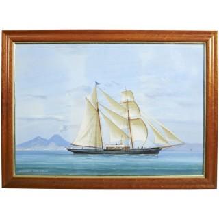 Neapolitan Painting of a Royal Albert Club Yacht