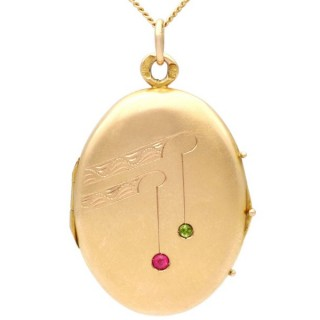 Ruby and Peridot, 14ct Yellow Gold Locket - Antique Russian Circa 1915