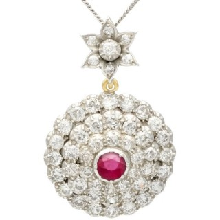 5.35 ct Diamond and 1.04 ct Ruby, 15 ct Yellow Gold Pendant - Antique Circa 1890