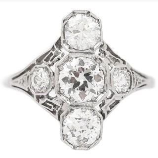 Antique Art Deco 2.10 Carat Diamond Trilogy Ring Platinum & 18 Karat White Gold, c.1920