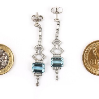 Platinum 4.20ct Aquamarine and 1.30ct Diamond Drop Earrings