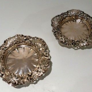 19th Century Antique Victorian Sterling Silver Pair Coasters London 1838 John Hunt