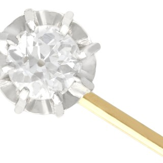 0.45 ct Diamond and 18 ct Yellow Gold Pin Brooch - Antique Circa 1910