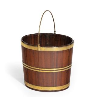 A late George III brass bound bucket