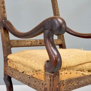 Pair of Square Back Open Armchairs