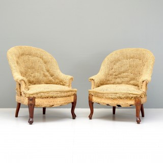 Pair of Small Curved Back Armchairs