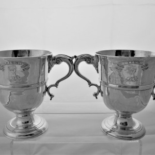 Fine pair armorial&crested early George III Irish silver 2 handled cups Dublin 1769/70 Matthew West