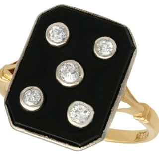 0.40 ct Diamond and Onyx, 18 ct Yellow Gold Dress Ring - Antique Circa 1930