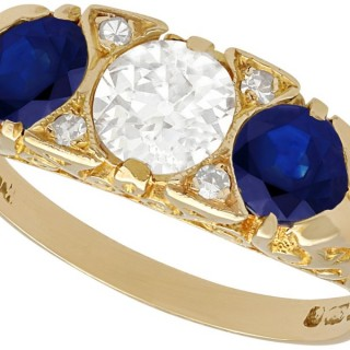 1.32 ct Sapphire and 0.81 ct Diamond, 15 ct Yellow Gold Dress Ring - Antique and Vintage