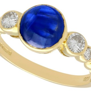1.74ct Sapphire and 0.57ct Diamond, 18ct Yellow Gold Dress Ring - Vintage 1981