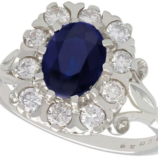 2.85 ct Sapphire and 0.65 ct Diamond, 18 ct White Gold Cluster Ring - Vintage 1976