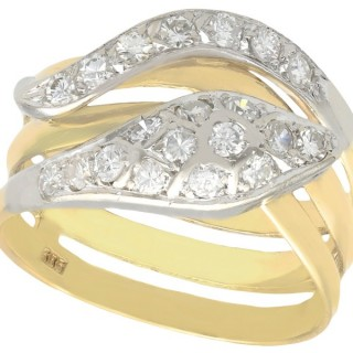 0.93ct Diamond and 14ct Yellow Gold Snake Ring - Vintage Circa 1960