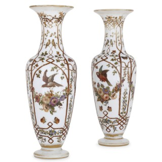 Pair of opaline glass vases painted with birds and flowers
