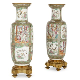 Pair of ormolu mounted Canton porcelain vases