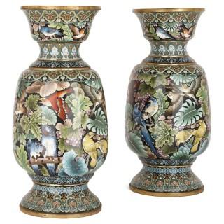 Two large Chinese cloisonné enamel vases