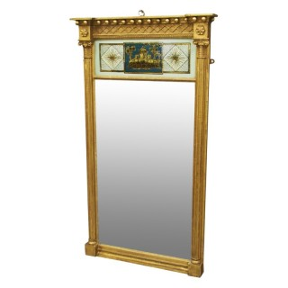 Regency Giltwood and Verre Eglomise Mirror