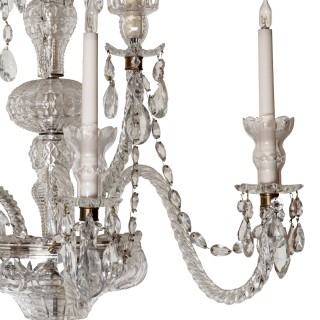 Set of 8 Palatial 19th Century Cut Glass Five Light Wall Lights Attributed to F & C Osler